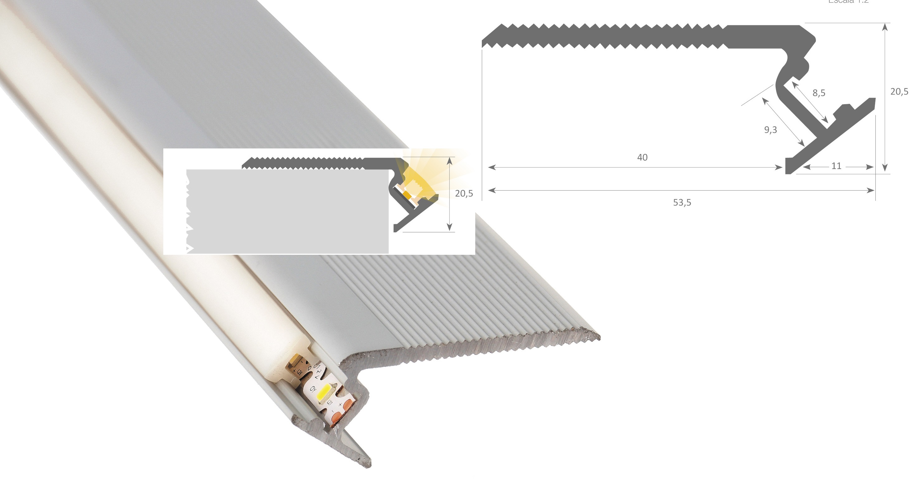 LED TrapProfiel Type LZ06.001.DF | Inleg PC, UV Bestendig | 2,4 Meter