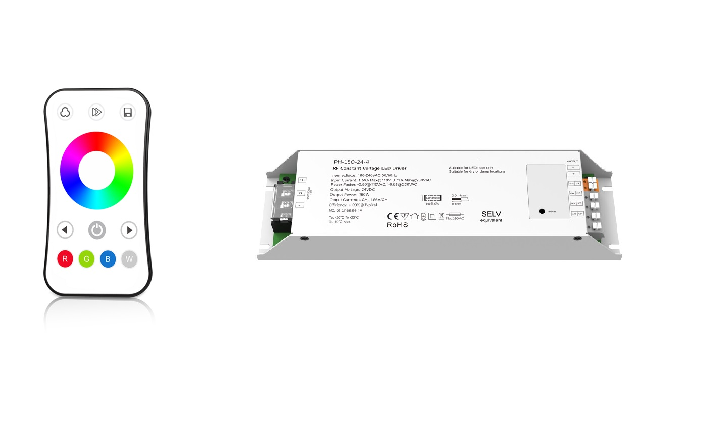 LED dimmer | 10 Zonne | RGBW LED Voeding Set | 144 Watt  | 24 Volt | met afstandbediening