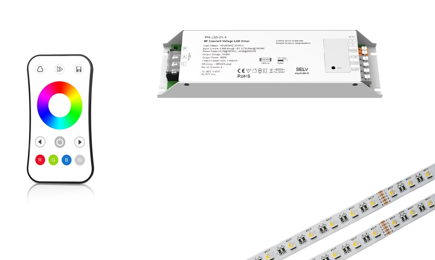 LEDware RGBw@re | RGBW LED Voeding Set | 144 Watt  | 24 Volt | met afstandbediening | 10 m