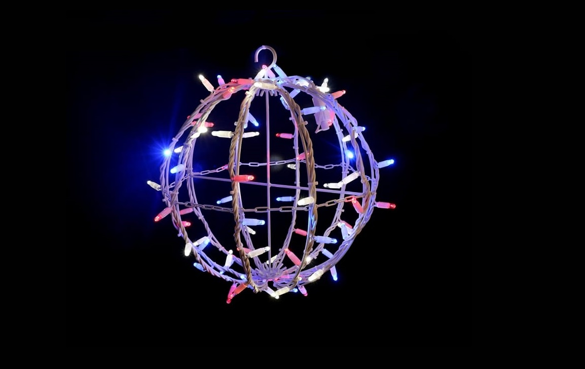 PS230 | 3D Ball | 35cm | White Cable | Red, White & Blue LED