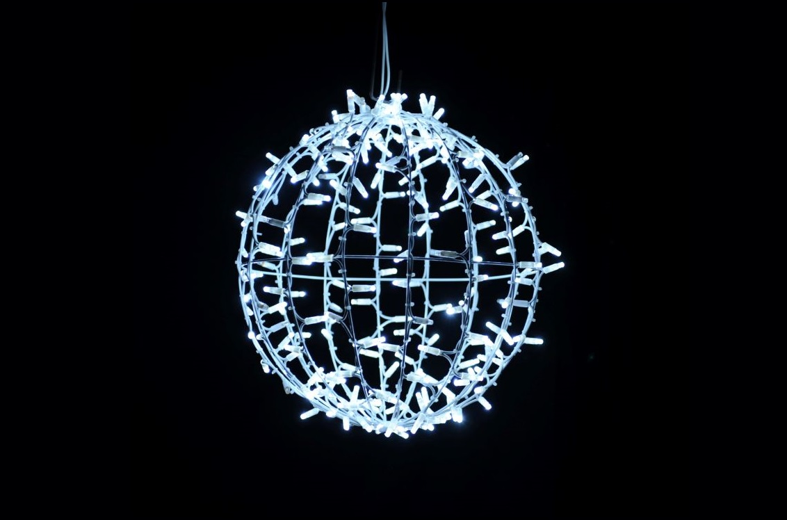 PS230 | 3D Ball Motif | 30cm | White + White Twinkle LED
