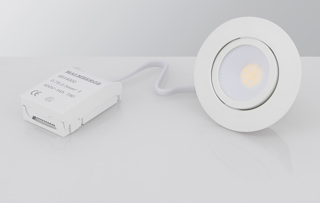 Malmbergs | LED inbouwspot | 1 LEDs | Rond | 5 W | Dim to Warm (1800-2800k) | Wit | MD-230