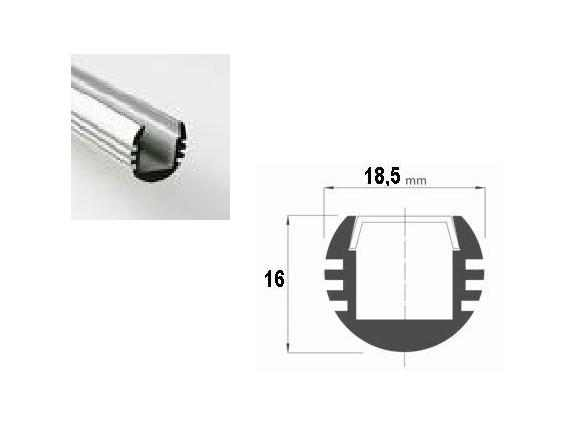 LED Profiel 02 | Rondo | 18,5 x16 mm | Opaal, PC, UV Bestendig | 1 Meter
