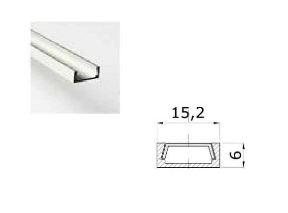 LED Profiel 03 | Small | 15,2 x 6 mm | Opaal, PC, UV Bestendig | 1 Meter