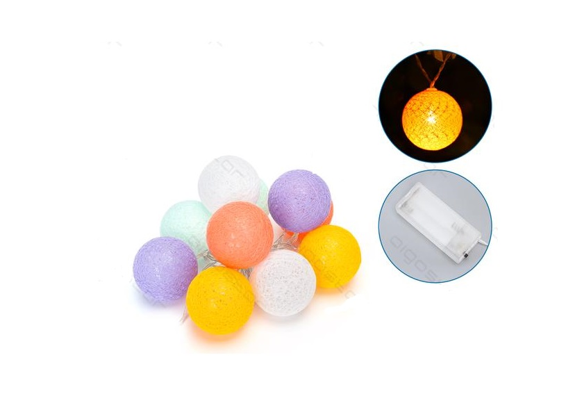Aigostar LED | Cotton ball Light  l | 200cm | MultiColor LED | Silver wire | 10 LEDs | Bat