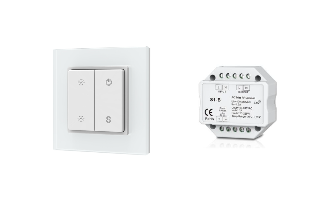 LEDw@re Dimmer |  20-220 Watt | 220 Volt | met RF Wall | Inbouw