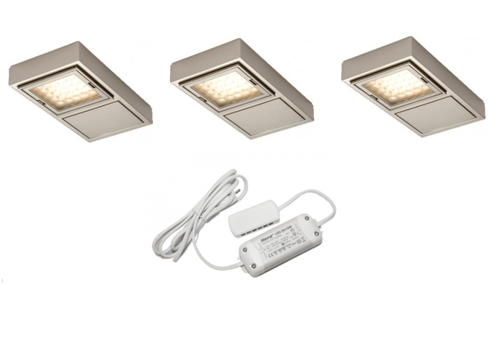 HERA | VARIO | LED op / inbouwspot | 3 LED spots | Doe Zelf LED Kit | Warm Wit