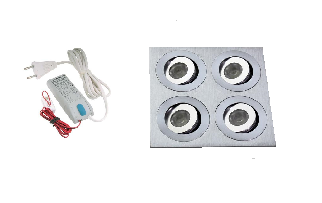 LEDware | LED inbouwspot | 4 LED spots | 180 Lm | Doe Het Zelf LED Kit | Warm Wit | 204B