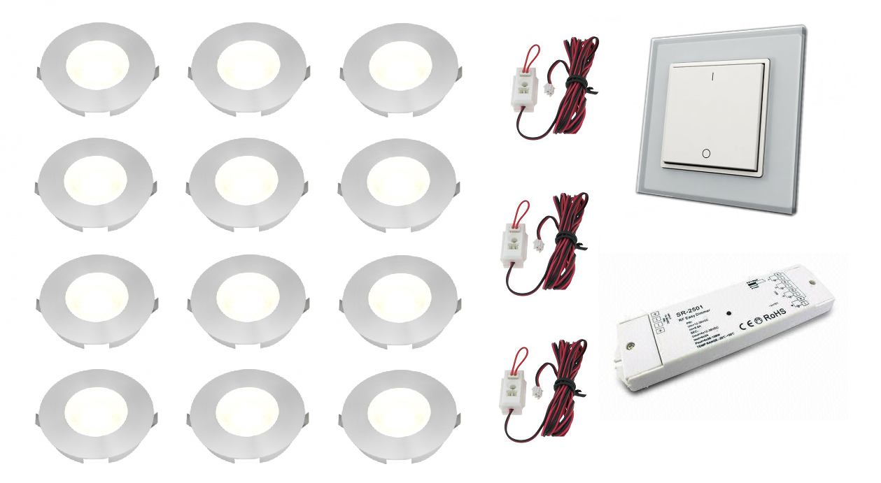 Klemko + LEDw@re | Slimline | LED inbouwspot | 12 LED spots | 110 Lm | Doe Het Zelf LED Ki
