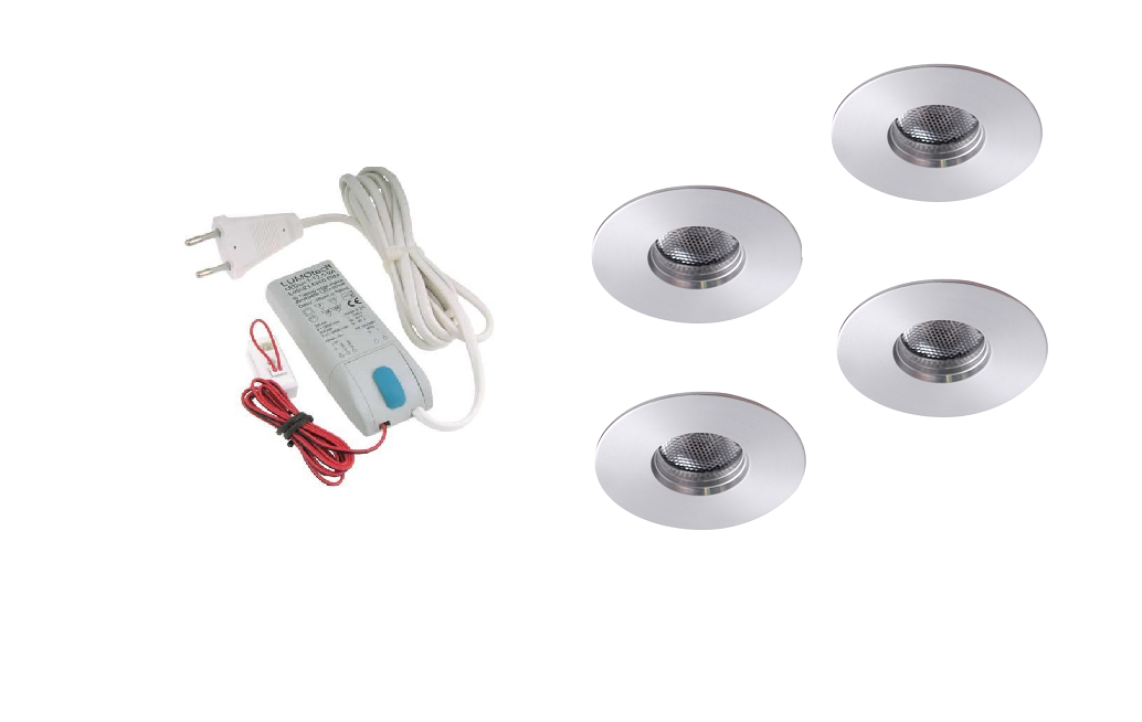 LEDware | LED inbouwspot | 4 LED spots | 180 Lm | Doe Het Zelf LED Kit | Warm Wit | 111B