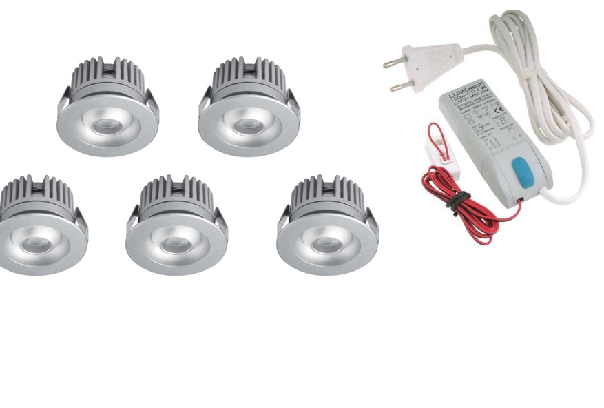 LEDware | LED inbouwspot | 5 LED spots | 80 Lm | Doe Het Zelf LED Kit | Warm Wit | 2320