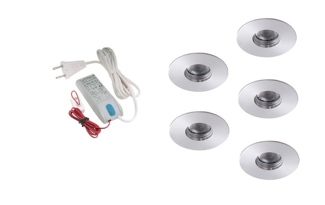 LEDware | LED inbouwspot | 5 LED spots | 180 Lm | Doe Het Zelf LED Kit | Warm Wit | 111B