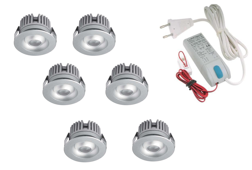 LEDware | LED inbouwspot | 6 LED spots | 80 Lm | Doe Het Zelf LED Kit | Warm Wit | 2320