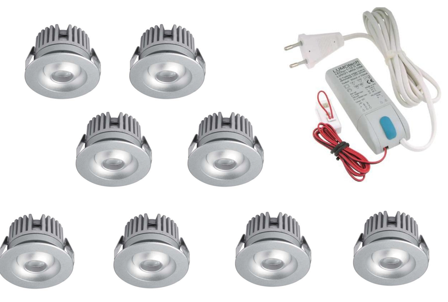 LEDware | LED inbouwspot | 8 LED spots | 80 Lm | Doe Het Zelf LED Kit | Warm Wit | 2320