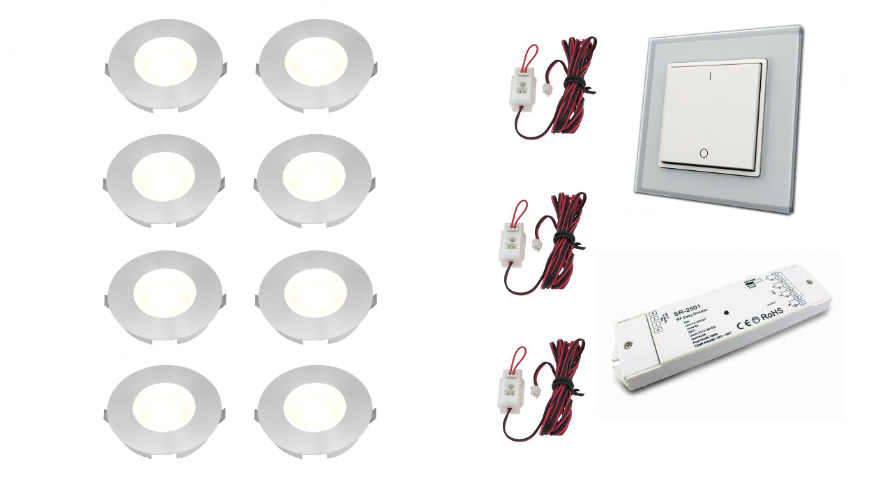 Klemko + LEDw@re | Slimline | LED inbouwspot | 8 LED spots | 110 Lm | Doe Het Zelf LED Ki