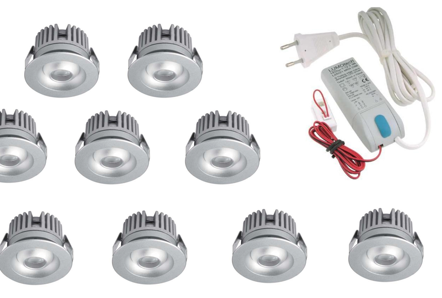 LEDware | LED inbouwspot | 10 LED spots | 80 Lm | Doe Het Zelf LED Kit | Warm Wit | 2320