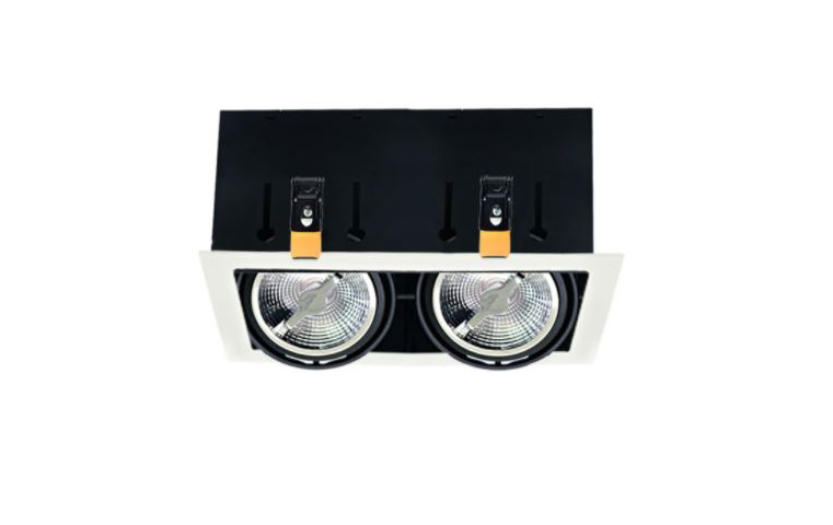 Dubbele Downlight | 2 x 15 Watt | AR111 | 355 x 165 | Dim to Warm | 2200-3000K | Zwart