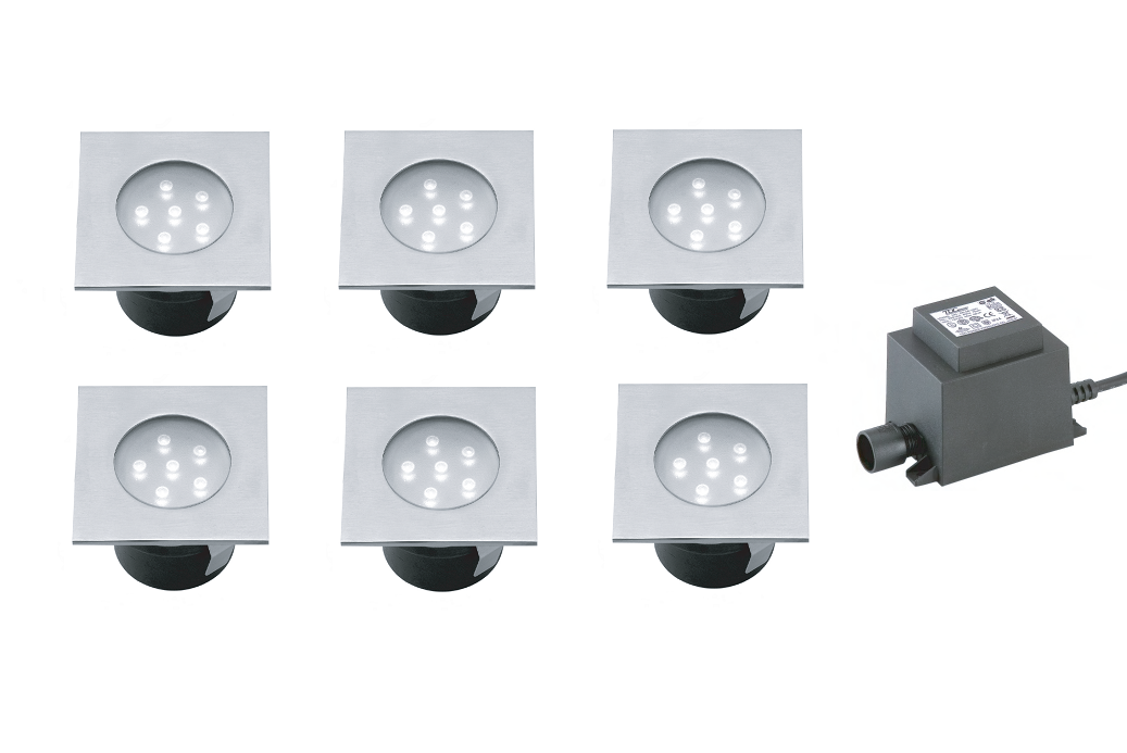 LED Grondspot Set | 12 Volt | Vierkant | 6 x 1 Watt | Wit