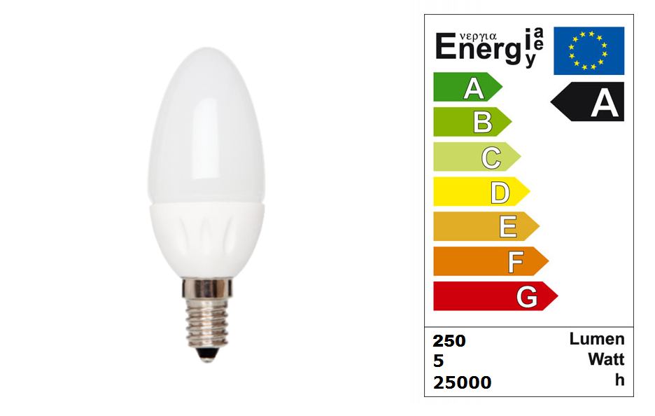 LED Kaars lang | 230 Volt | 3,8 Watt | VV 15-20 Watt | Warm Wit | E14