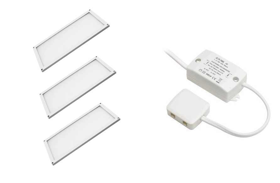 LED Module | Type THIN SET | 200 x 100 x 5 mm | Warm Wit | 3 x 6 Watt | 12 Volt | 360 Lume