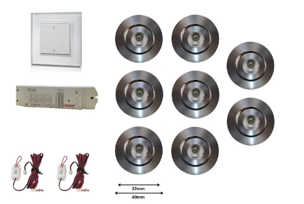 LEDware | LED inbouwspot | 8 LED spots | 180 Lm | REMOTE LED Kit | Warm Wit | 101PE | Muur