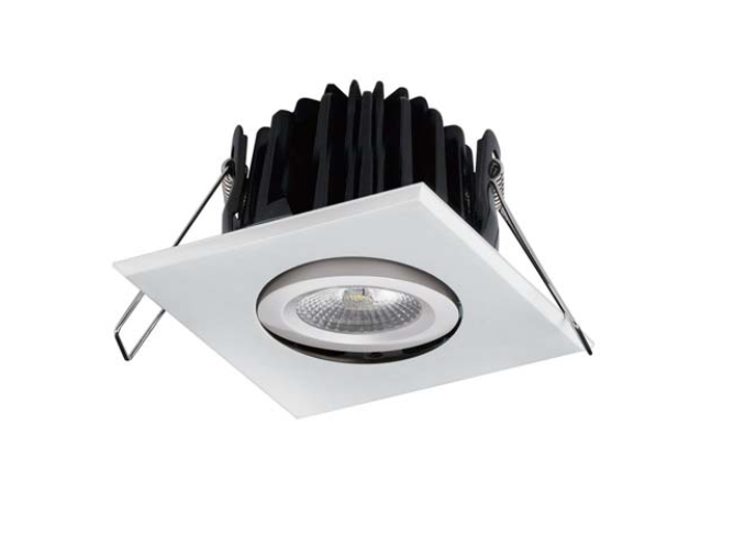 LEDware | LED inbouwspot | 1 LEDs | Vierkant | 8 W | Warm Wit | Gun Black | IP54