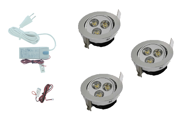 LEDware | LED inbouwspot | 3 LED spots | 190 Lm | Doe Het Zelf LED Kit | Warm Wit | 302A