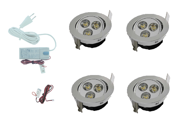 LEDware | LED inbouwspot | 4 LED spots | 190 Lm | Doe Het Zelf LED Kit | Warm Wit | 301A