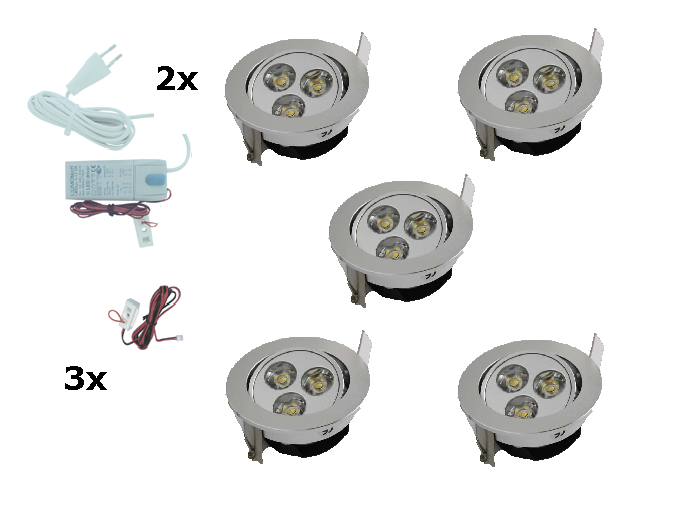 LEDware | LED inbouwspot | 5 LED spots | 190 Lm | Doe Het Zelf LED Kit | Warm Wit | 302
