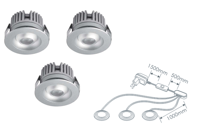 LEDware | LED inbouwspot | 3 LED spots | 80 Lm | Doe Het Zelf LED Kit | Warm Wit | 2320