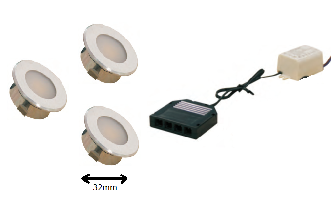 LEDware | LED inbouwspot | 3 LED spots | 100 Lm | Doe Het Zelf LED Kit | Warm Wit | DP05