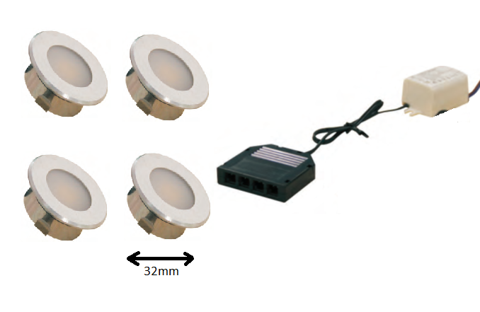LEDware | LED inbouwspot | 4 LED spots | 100 Lm | Doe Het Zelf LED Kit | Warm Wit | DP05