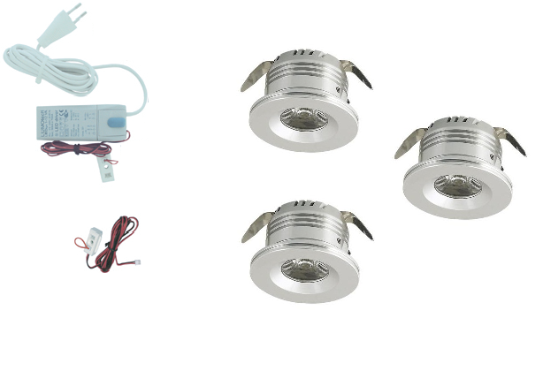 LEDware | LED inbouwspot | 3 LED spots | 180 Lm | Doe Het Zelf LED Kit | Warm Wit | 8413