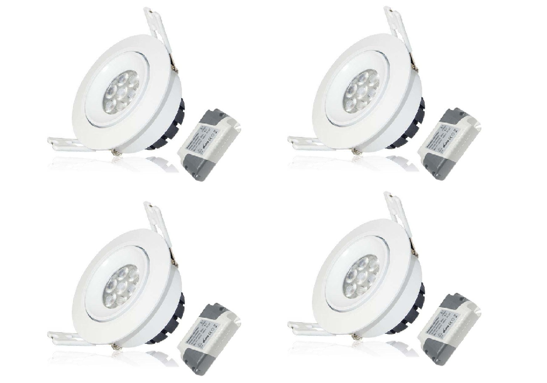 LEDware | LED inbouwspot | 4 LED Spots | 380 Lm | Doe Het Zelf LED Kit | Warm Wit | LWC260