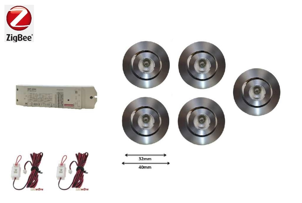 LEDware | Zigbee LED inbouwspot | 5 LED spots | 180 Lm | Doe Het Zelf LED Kit | Warm Wit |