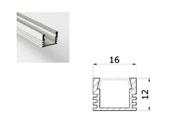 LED Profiel 01 | Standard | 16x12 mm | Opaal, PC, UV Bestendig | 2 Meter