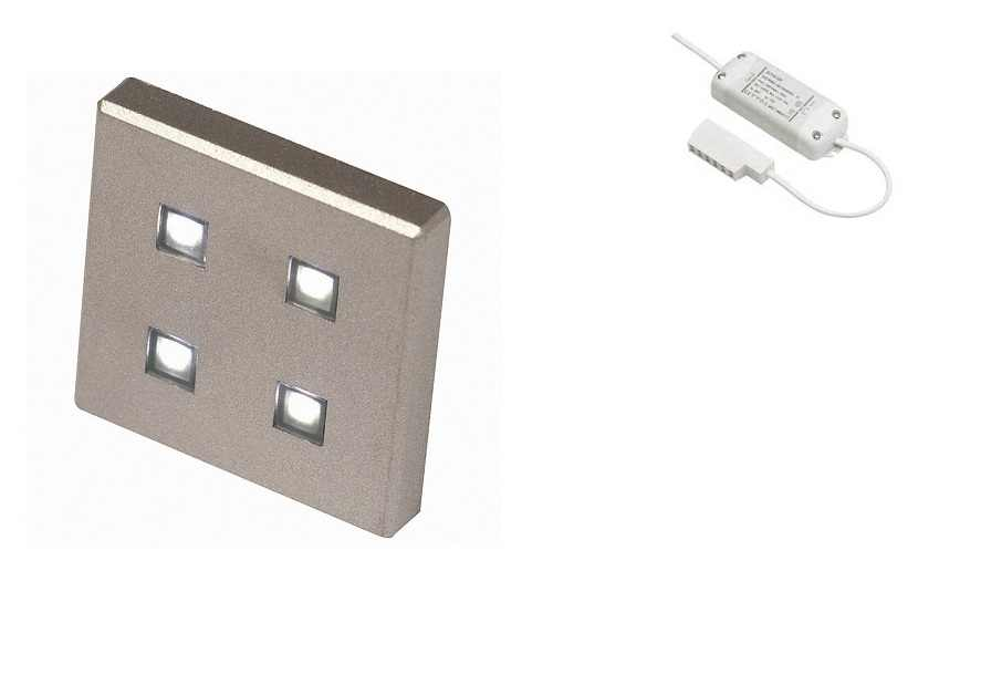 LED Kastverlichting set | 1 Lampjes | 1 x 1,4 Watt | Vierkant