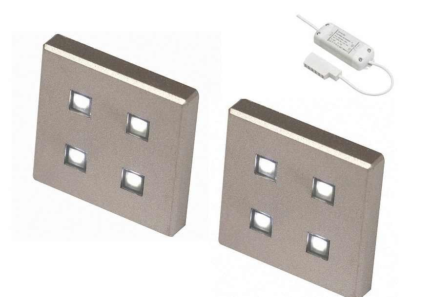 LED Kastverlichting set | 2 Lampjes | 2 x 1,4 Watt |  Vierkant
