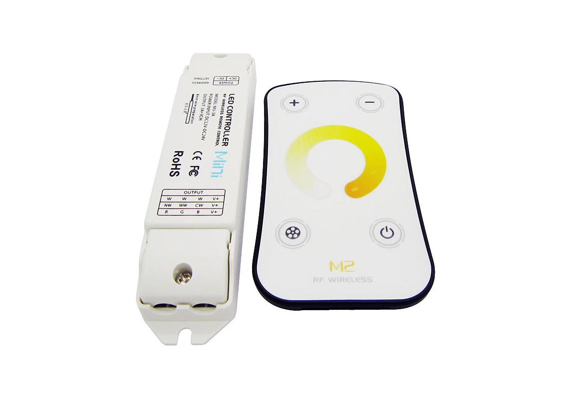 LED Dimmer | 12-24 Volt | 3 x 5 Ampere | met RF afstandbediening | Mini | Type M2