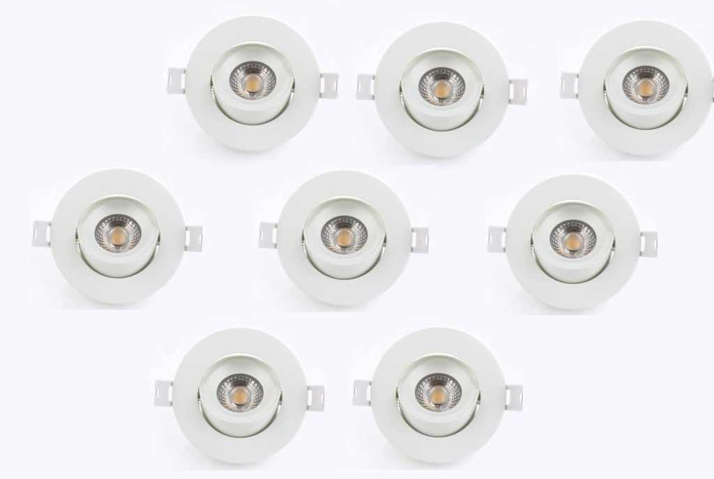 LEDware | LED inbouwspot | 8 LED spots | 500 Lm | Doe Het Zelf LED Kit | Warm Wit | Rond