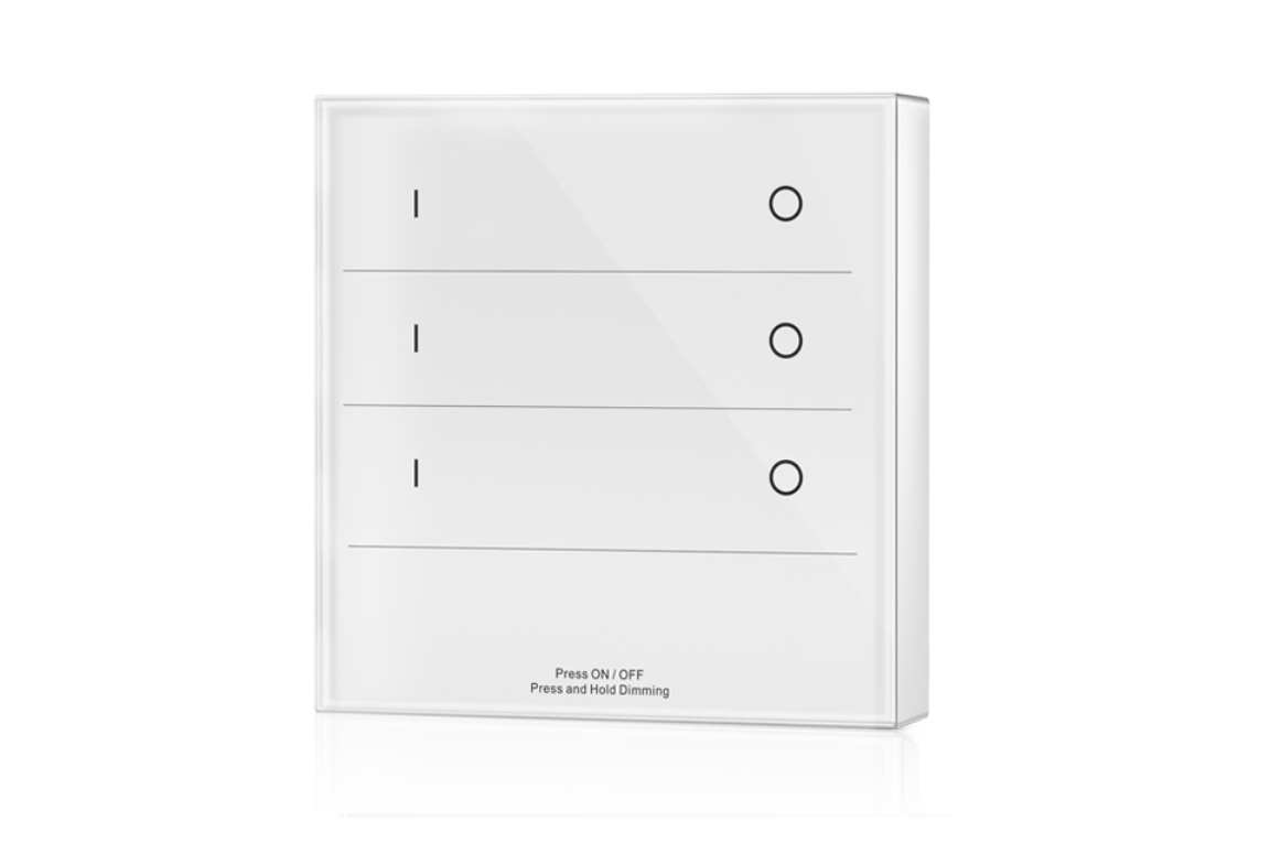 LED Dimmer | 10 Zonne | RF afstandsbediening Muur opbouw | 3 Zonne | Wit