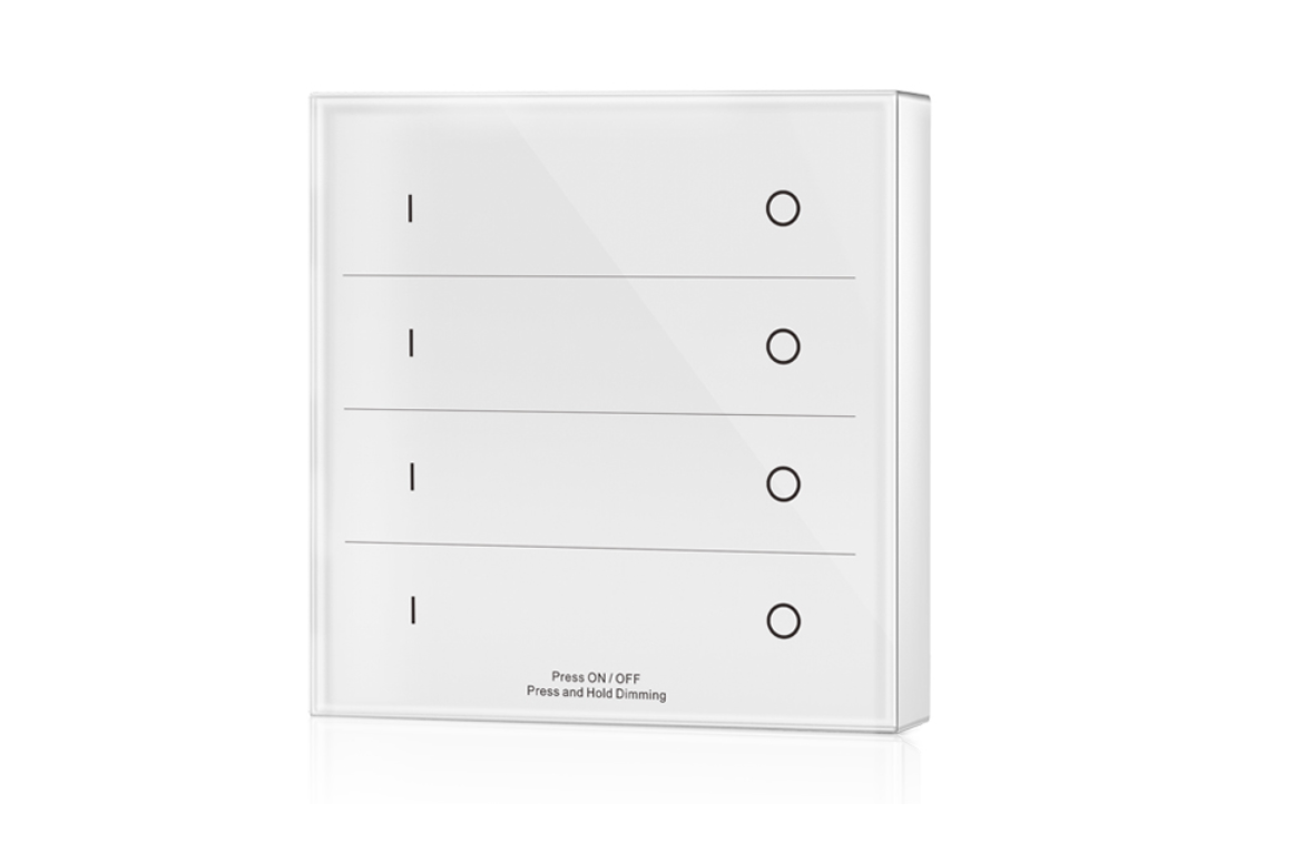 LED Dimmer | 10 Zonne | RF afstandsbediening Muur opbouw | 4 Zonne | Wit