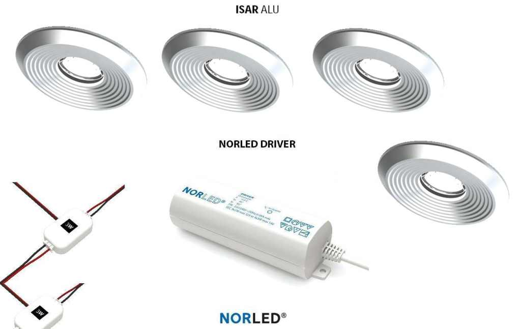 NORLED | LED inbouwspotset  | 4 spots | Rond | 3 W | Warm Wit | ISAR MAT ALU