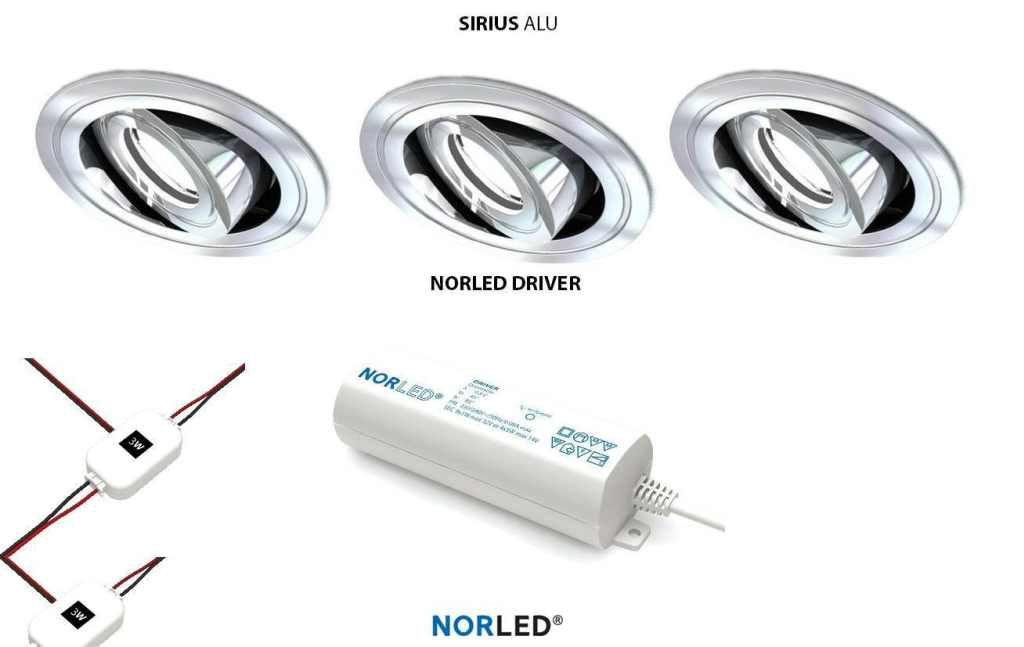 NORLED | LED inbouwspotset  | 3 spots | Rond | 3 W | Warm Wit | SIRIOS MAT ALU
