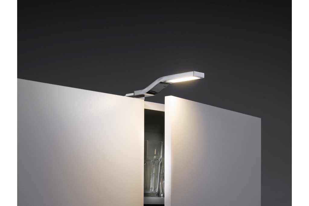 spiegel verlichting paulmann led kastverlichting set 1 lampje 3 watt chroom ledw re led. Black Bedroom Furniture Sets. Home Design Ideas