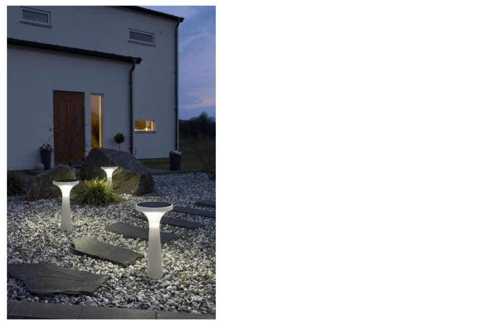 Assisi Aton 7102 Solar LED tuinlamp / kunststof / H=65cm / koel wit / IP44