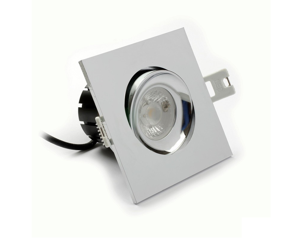 LEDware | LED inbouwspot | 1 LEDs | Vierkant | 8 W | Warm Wit | Chroom | IP54