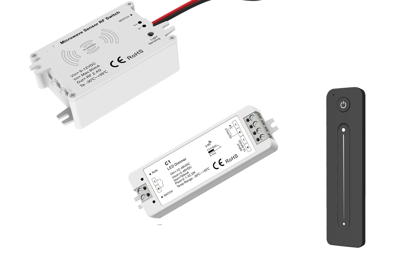 LED Dimmer | 12-24 Volt | 8 Ampere | met RF AB + Sensor | Mini | Type V1+R11 Kit