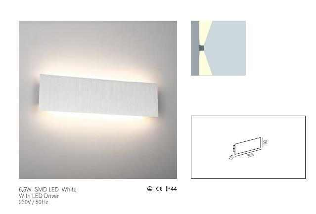 LEDw@re Wandlamp | 6,5 Watt | 27 x  305 x  90 | 220 Lumen | Wall  0071