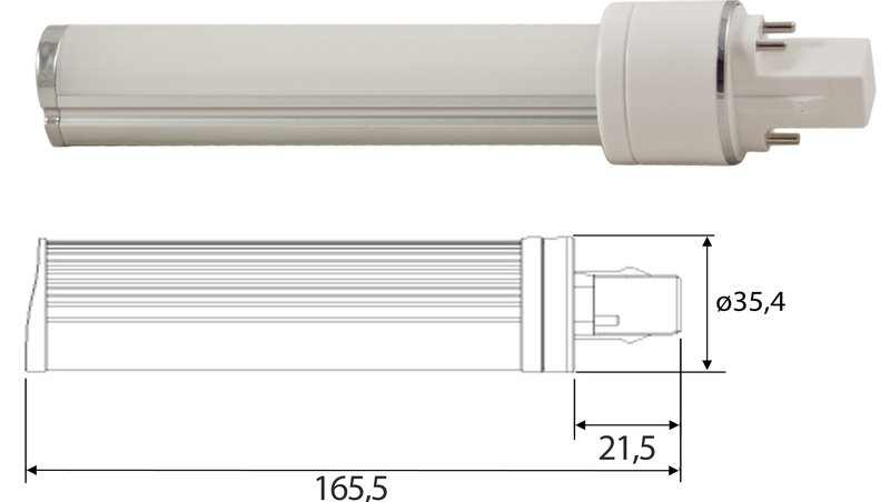 LED PL | 230 Volt | 7 Watt | VV 15 Watt | Warm Wit | G24